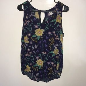 Old navy floral sleeveless high low tunic